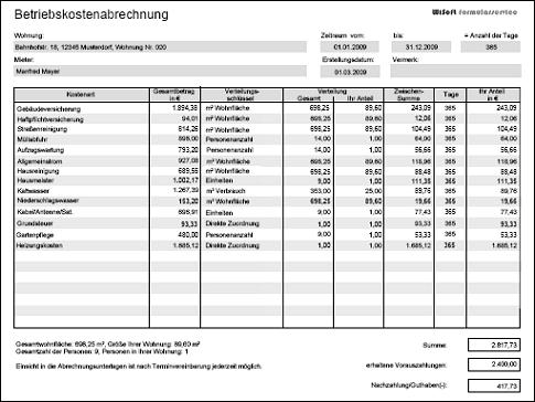 Betriebskostenabrechnung Nebenkostenabrechnung