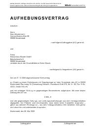 Aufhebungsvertrag zu einem Werkvertrag
