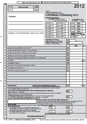 Lohnsteueranmeldung 2012